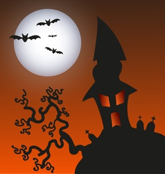 Haunted monster house - halloween background vector