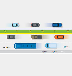 Vehicles on road with bike lane vector