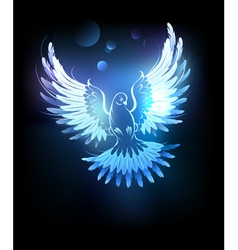 Glowing blue dove vector