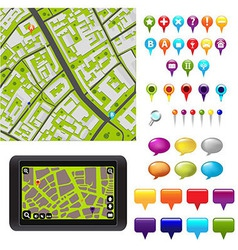 GPS Icons And Map vector image
