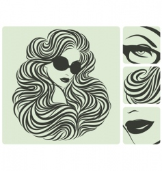 Long curly hairstyle vector illustration vector