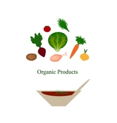 Organic food organic products organic vegetables vector