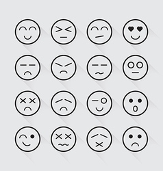 Human emotion icons long shadow set vector