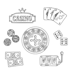 Casino and gambling sketched symbols vector