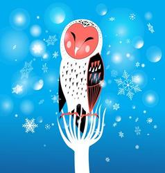 Funny christmas owl on a snowy background vector