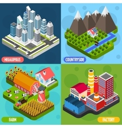 Locations 4 isometric icons square vector