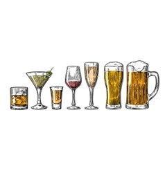 Set glass beer whiskey wine tequila cognac vector