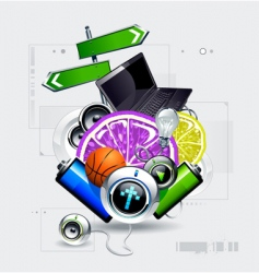 set of objects vector image