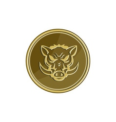 Wild hog head angry gold coin retro vector