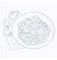 Spaghetti with basil on plate vector