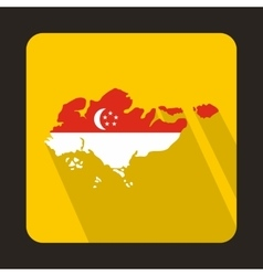 Map of singapore with flag icon flat style vector
