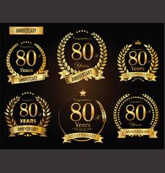 Anniversary golden laurel wreath 80 years vector