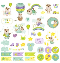 Baby Boy Dog Scrapbook Set Baby Tags Baby Labels vector image