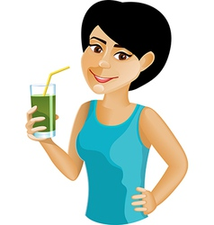 Black haired girl with green vegetable juice vector image vector image