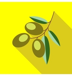Branch with olives icon flat style vector image
