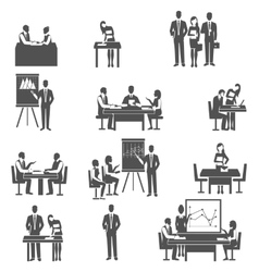 Business coaching black icons set vector