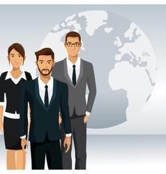 Business people teamwork globe international vector