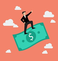 Businessman standing on a flying money vector