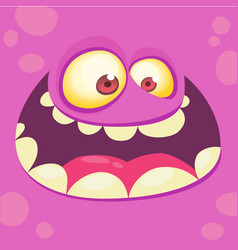 cartoon monster face square avatar vector image vector image