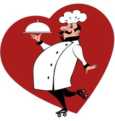 Chef on roller skates vector image vector image