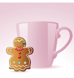 cookie and a cup vector image vector image