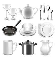 Crockery icons set vector image