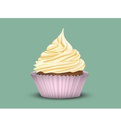 Cupcake tiered cream in a pink Cup vector image