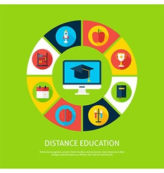 Distance education flat infographic concept vector