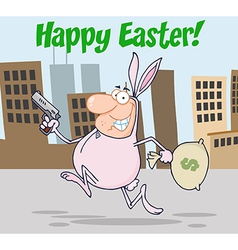 Easter bunny bandit cartoon vector image