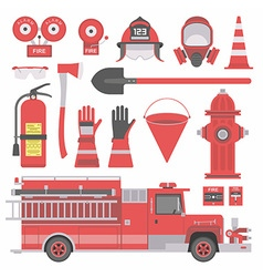 Fireman equipment vector image vector image