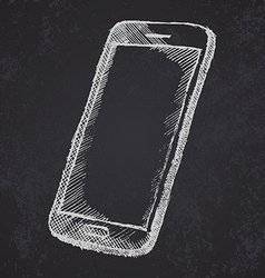 Handdrawn sketch of mobile phone with shadow on vector image