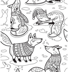 ink snowy seamless pattern with cartoon foxes in vector image vector image