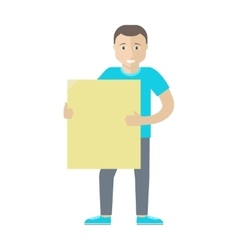 Man character holding blank message board vector