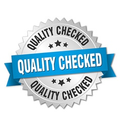 Quality checked 3d silver badge with blue ribbon vector