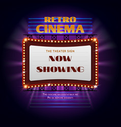 Retro hollywood cinema 3d glowing light sign vector
