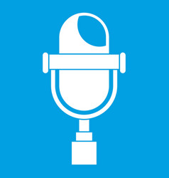 retro microphone icon white vector image vector image