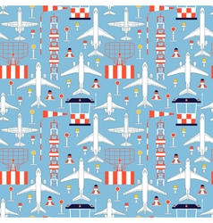 Seamless pattern with passenger airplanes 07 vector