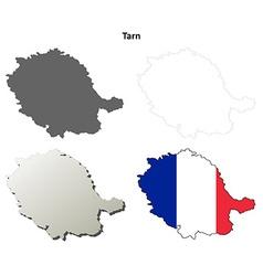 Tarn midi-pyrenees outline map set vector