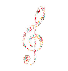 Treble clef in color silhouette formed by musical vector