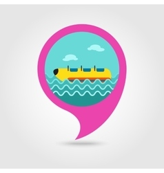 Yellow banana boat ride pin map icon Vacation vector image