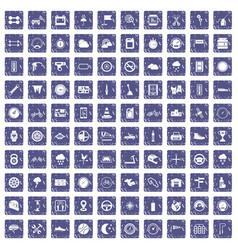 100 motorsport icons set grunge sapphire vector