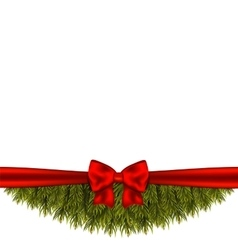 Christmas tree branch decorated with red bow vector
