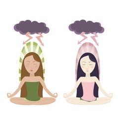 meditating girls in cartoon style vector image