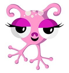 Pink space monster on white vector