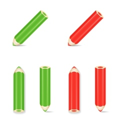 Pencil icon set green red vector
