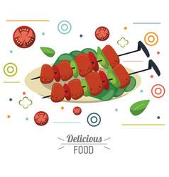 delicious food skewers grilled meat vegetables vector image