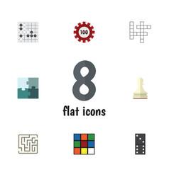 Flat icon games set of poker gomoku bones game vector