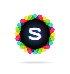 Retro bright colors logotype letter s vector