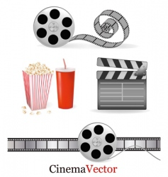 Big group with cinema elements vector
