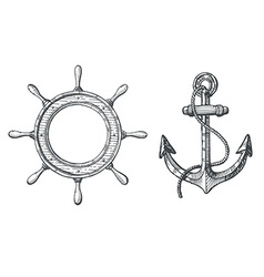 Hand drawn of an anchor and a steering wheel vector